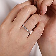 14k White Gold Stackable Diamond Studded Ladies Ring