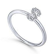 14k White Gold Stackable Initial Ladies Ring