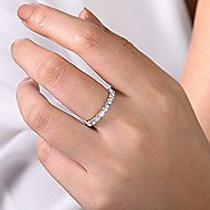 14k White Gold Stackable Round and Rectangle Ladies Ring