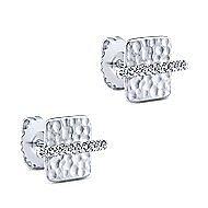 14k White Gold Trends Stud Earrings angle 2