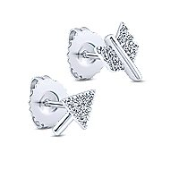 14k White Gold Two Piece Arrow Diamond Stud Earrings
