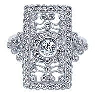 14k White Gold Victorian Classic Ladies Ring