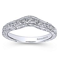 14k White Gold Victorian Curved Anniversary Band angle 5