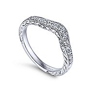 14k White Gold Victorian Curved Anniversary Band angle 3