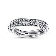 14k White Gold Victorian Eternity Anniversary Band angle 4