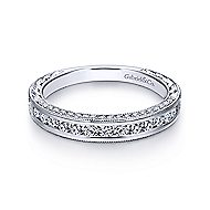 14k White Gold Victorian Straight Wedding Band