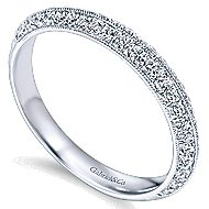14k White Gold Victorian Straight Wedding Band angle 3