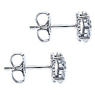 14k White Gold Victorian Stud Earrings angle 3
