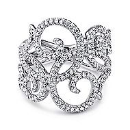 14k White Gold Victorian Twisted Ladies' Ring angle 1