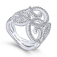 14k White Gold Victorian Twisted Ladies' Ring angle 3