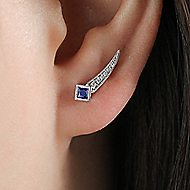 14k White Gold Vintage Inspired Pave Diamond & Princess Cut Sapphire Stud Earrings