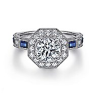 14k White Gold Vintage Inspired Round Octagonal Halo Sapphire Engagement Ring
