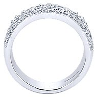 14k White Gold Vintage Inspired Wide Band Openwork Diamond Fashion Ring