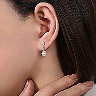 14k White Gold Vintage Style Diamond Pearl Drop Earrings