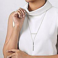 14k White Gold Y Knot Pave Diamond Bar Necklace