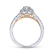 14k White/Rose Gold Round Halo Engagement Ring