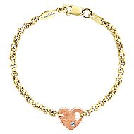 14k Yellow And Rose Gold Secret Garden Heart Bracelet