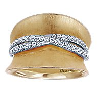 14k Yellow And White Gold Contemporary Fashion Ladies' Ring angle 4