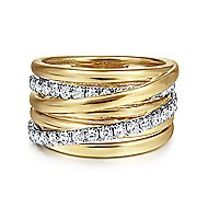 14k Yellow And White Gold Contemporary Wide Band Ladies Ring