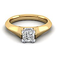 14k Yellow And White Gold Cushion Cut Solitaire Engagement Ring