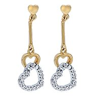 14k Yellow And White Gold Eternal Love Drop Earrings angle 1