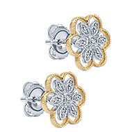 14k Yellow And White Gold Floral Stud Earrings angle 2