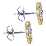 14k Yellow And White Gold Floral Stud Earrings angle 3