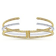 14k Yellow And White Gold Hampton Bangle angle 1