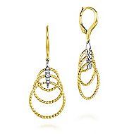 14k Yellow And White Gold Hampton Drop Earrings angle 1