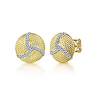 14k Yellow And White Gold Hampton Stud Earrings angle 1