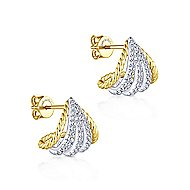 14k Yellow And White Gold Hampton Stud Earrings angle 2