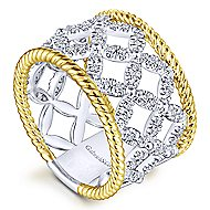 14k Yellow And White Gold Hampton Wide Band Ladies' Ring angle 3