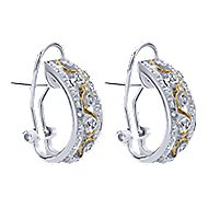 14k Yellow And White Gold Hoops Fashion Earrings angle 2