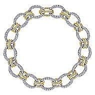 14k Yellow And White Gold Lusso Diamond Tennis Bracelet angle 1