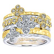 14k Yellow And White Gold Lusso Diamond Wide Band Ladies' Ring angle 4