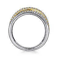 14k Yellow And White Gold Lusso Twisted Ladies Ring