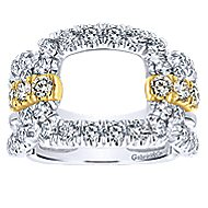 14k Yellow And White Gold Lusso Wide Band Ladies' Ring angle 4