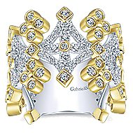 14k Yellow And White Gold Lusso Wide Band Ladies Ring