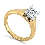 14k Yellow And White Gold Princess Cut Solitaire Engagement Ring