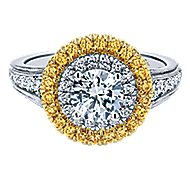 14k Yellow And White Gold Round Double Halo Engagement Ring angle 1