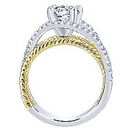 14k Yellow And White Gold Round Free Form Engagement Ring angle 2