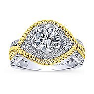 14k Yellow And White Gold Round Free Form Engagement Ring angle 5