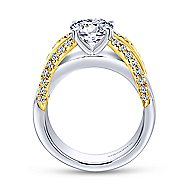 14k Yellow And White Gold Round Wide Band Engagement Ring