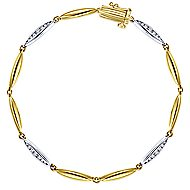 14k Yellow And White Gold Silk Tennis Bracelet angle 1