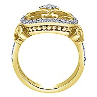 14k Yellow And White Gold Victorian Fashion Ladies Ring