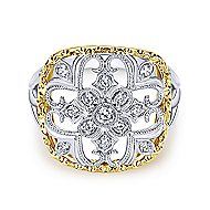 14k Yellow And White Gold Victorian Fashion Ladies' Ring angle 1