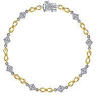 14k Yellow And White Gold Victorian Tennis Bracelet