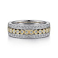 14k Yellow And White Gold Victorian Wide Band Ladies' Ring angle 1