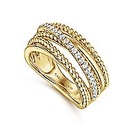 14k Yellow Gold Beaded Diamond Fashion Ring