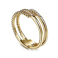 14k Yellow Gold Beaded Fashion Diamond Ladies' Ring